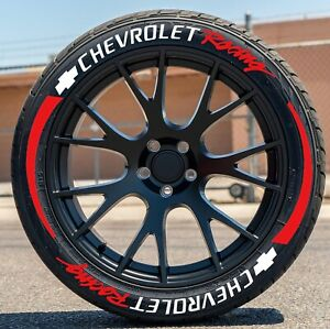 """CHEVROLET Racing Stickers Red Tire Strip 1""""Letter for 14"""" to 22"""" Wheels 16 Decal"""