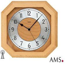 AMS 5864/18 Wanduhr Funk Mineralglas buche massiv