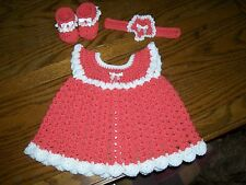 Handmade Crochet Baby Girl Dress Set. Deep Coral, fits approx. 0-3 months