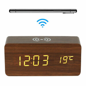 LED Electric Alarm Clock Wireless Charger Charging Pads Station Thermometer C9