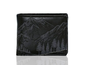Shagwear Mountain Scene Men's Bi-Fold Faux Leather Wallet, Black