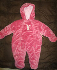Carters Girls Deep Pink Beautiful soft Velour One Piece SnowSuit size 6-9 Months