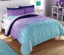Light Dark Purple Blue Green Ombre 7 Piece Comforter Bedding Set Full Size