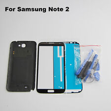 Black replacement battery cover front screen glass lens for galaxy note 2 n7100