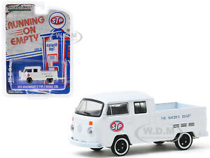 "1976 VOLKSWAGEN T2 DOUBLE CAB PICKUP WHITE ""STP"" 1/64 DIECAST GREENLIGHT 41100 D"