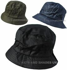 9f81a5ed2f2 Wax Bush Hat Bucket Shower proof Rain Winter Black Navy Green Mens Ladies  Womens