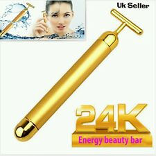 DERMA ROLLER 24k GOLD BEAUTY BAR Facial Massage Skin Lifting Wrinkle Skincare