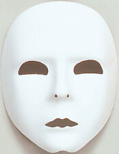 Plain White  Full Face Mask Robot Fancy Dress Stage Mime Masquerade Ball