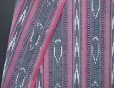 Red Black White Ikat Fabric Hand-Dyed, Artisan-Crafted  India Homespun Cotton