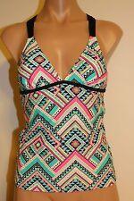 NWT Hula Honey Juniors Swimsuit Bikini Tankini Top Size L BLK Pink