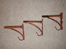 Set Of Three Antique Cast Iron & Walnut Harness Racks