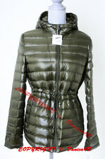 DKNY Quilted Down Packable Hooded Anorak Jacket Coat L Color: Loden/Goldfish