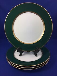 Fitz & Floyd RENAISSANCE Dark Forest Green Rim DINNER PLATES Gold Trim SET OF 4