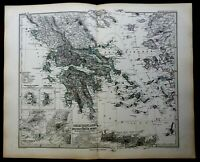 Greece Ottoman Empire Crete Ionian Islands 1878 Petermann detailed map