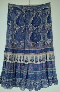 Ladies vintage Phool Skirt Midi knee Length purple cotton indian block print