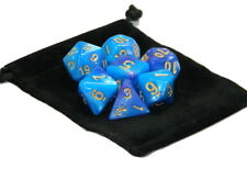 New 7 Piece Polyhedral Blend Light Blue Purple Dice Set With Dice Bag D&D RPG