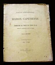 TRÈS RARE TABLEAU GÉNÉALOGIQUE MAISON CAPÉTIENNE - H. de BEAUMONT - NLN 1910