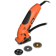Mini sega circolare elettrica 3 lame valigetta accessori legno metallo TMX800