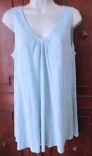 EILEEN FISHER Top Tank Tunic Linen Baby Blue Sleeveless Gathered Neck S EUC #RTD