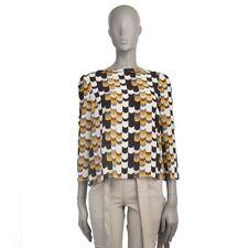 53819 auth PRADA ochre black white silk PRINTED 3/4 Sleeve Blouse Shirt 40 S