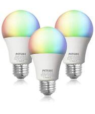 Peteme Smart Light Bulb 2.4G(not 5G) RGB Color Changing Alexa Siri Echo 3pack