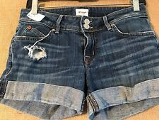 "Hudson mini-shorts denim cuffed size 24 waist 26"" rise 7"" hips 33"" inseam 3"" des"