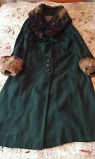 original 1920s bottle green fur boucle coat 12/14