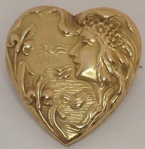 ANTIQUE ART NOUVEAU GOLD FILLED IRIS FLOWER LADY FACE HEART LOCKET BROOCH