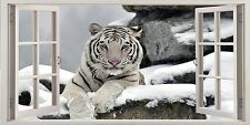 """White Snow Tiger On Rock 16""""x20"""" Canvas Picture 3D Window Effect Wild Animal"""