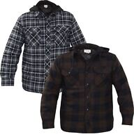 Mens Padded Shirt Multi Pocket Jacket Hooded Coat Buttoned Top Quilted Lined