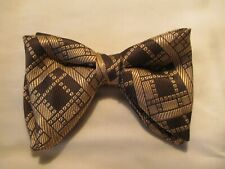 Vtg '70 chunky disco polyester brown bow tie