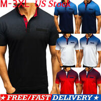US Men Summer Plain Short Sleeve Zipper Neck Polo Shirt Casual Top Pique T-shirt