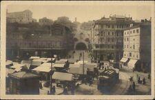 Trieste Italy Piazza C. Goldoni con Galleria TROLLEY Real Photo Postcard c1915