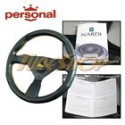 Italy Personal Grinta 350mm Steering Wheel Leather Yellow Stiching Yellow Horn