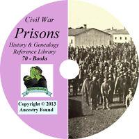 Civil War PRISONS - History & Genealogy - Prisoners - 70 Books on DVD CD