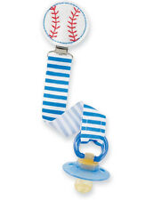 New MUD PIE Baby Boy PACIFIER PACY CLIP Embroidered Felt Ribbon BASEBALL SPORTS