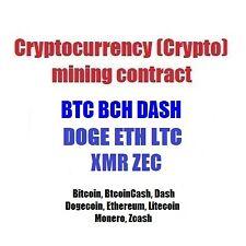 Crypto mining contract BTC BCH DASH DOGE ETH LTC XMR ZEC