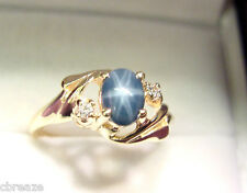 RICH ROYAL BLUE GENUINE STAR SAPPHIRE 1.07 CTS with DIAMONDS 14K GOLD RING