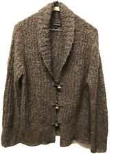 Western Connection Brown Popcorn Button Up Cardigan Sweater Size L