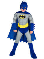 Boys Deluxe Batman Costume Dark Knight Muscle Chest Fancy Dress Child Outfit