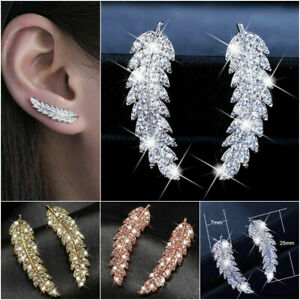Fashion Feather Stud Earring Women 925 Silver,Gold,Rose Gold Jewelry A Pair/set