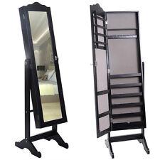 Black Jewelry Mirror Armoire Stand W/Tilt Cabinet Storage Box Ring Organizer