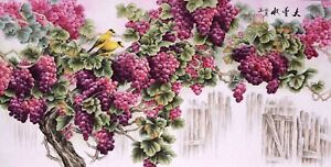 100% ORIGINAL FINE ART CHINESE WATERCOLOR PAINTING-Grape fruits&Birds lover