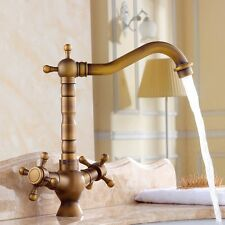 180 Degree Swivel Antique Inspired Brass Kitchen Faucet Bathroom Sink Mixer Tap