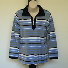 'BLACK PEPPER' BNWT SIZE '8' BLUE, GREY & WHITE STRIPED LONG SLEEVE TOP