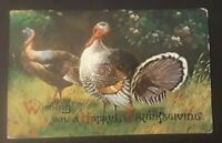 1909 Bristol RI To Beaumont CA Embossed Thanksgiving Postcard Cover