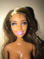 Barbie Doll Long Highlighted Brown hair, Dark Skin, Brown Eyes Articulated