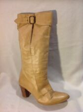 Ken Beige Mid Calf Leather Boots Size 39
