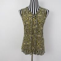 Jack Rogers Yellow Black White Geometric Silk Sleeveless Top Size 2