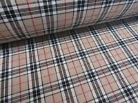 Tartan Beige Burberry Look Plaid Check Poly Viscose Fabric 150cm Wide,Premium